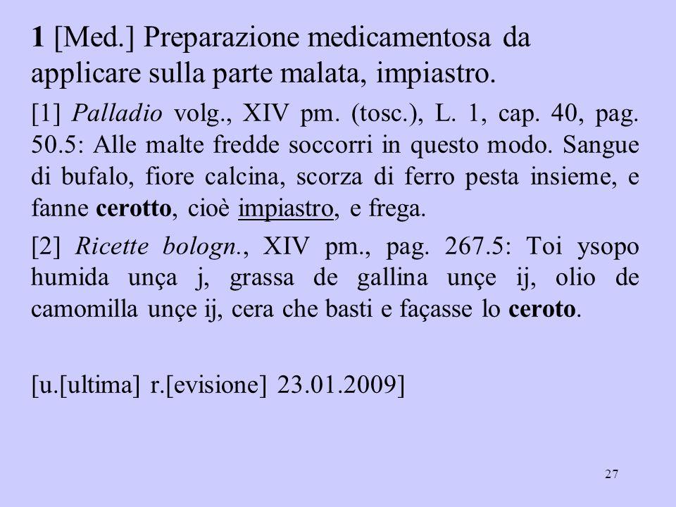 1 [Med.] Preparazione medicamentosa da applicare sulla parte malata, impiastro.