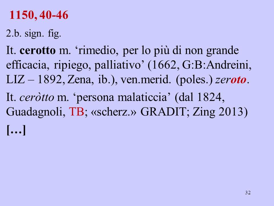 1150, 40-46 2.b. sign. fig. It. cerotto m. 'rimedio, per lo più di non grande efficacia, ripiego, palliativo' (1662, G:B:Andreini, LIZ – 1892, Zena, i