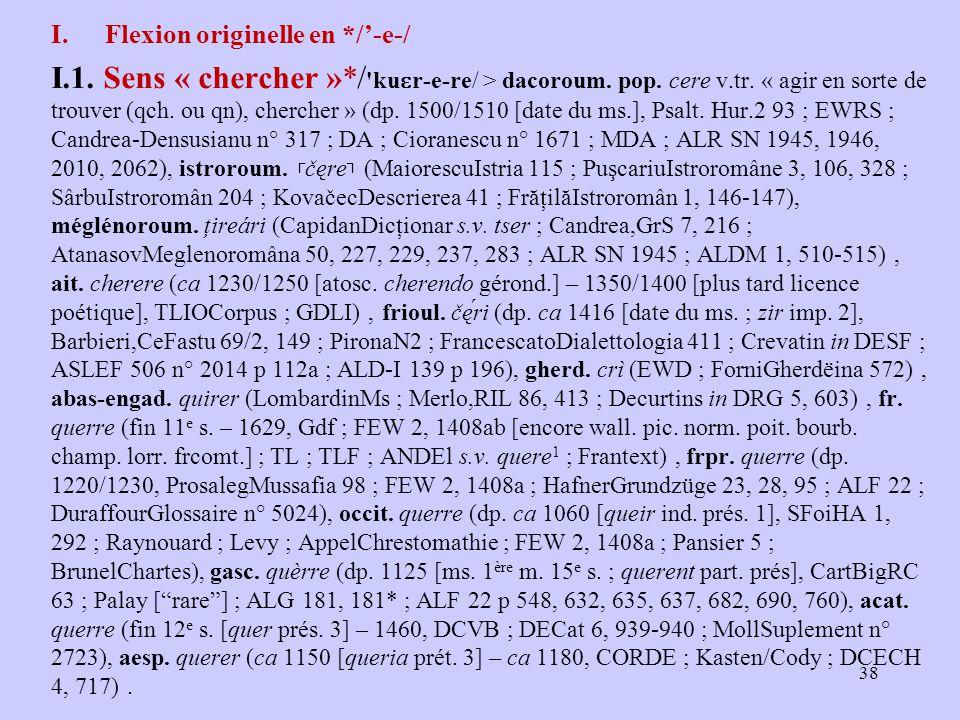 I.Flexion originelle en */'-e-/ I.1. Sens « chercher »*/ ku ɛ r ‑ e ‑ re/ > dacoroum.