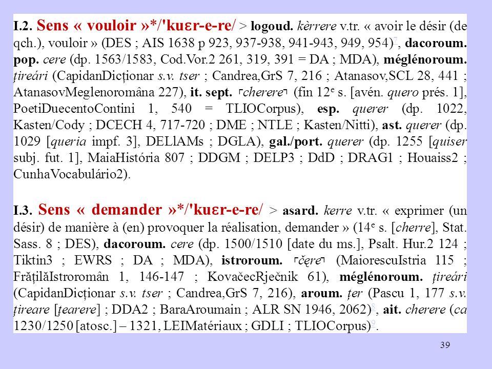 I.2. Sens « vouloir »*/'ku ɛ r ‑ e ‑ re/ > logoud. kèrrere v.tr. « avoir le désir (de qch.), vouloir » (DES ; AIS 1638 p 923, 937-938, 941-943, 949, 9