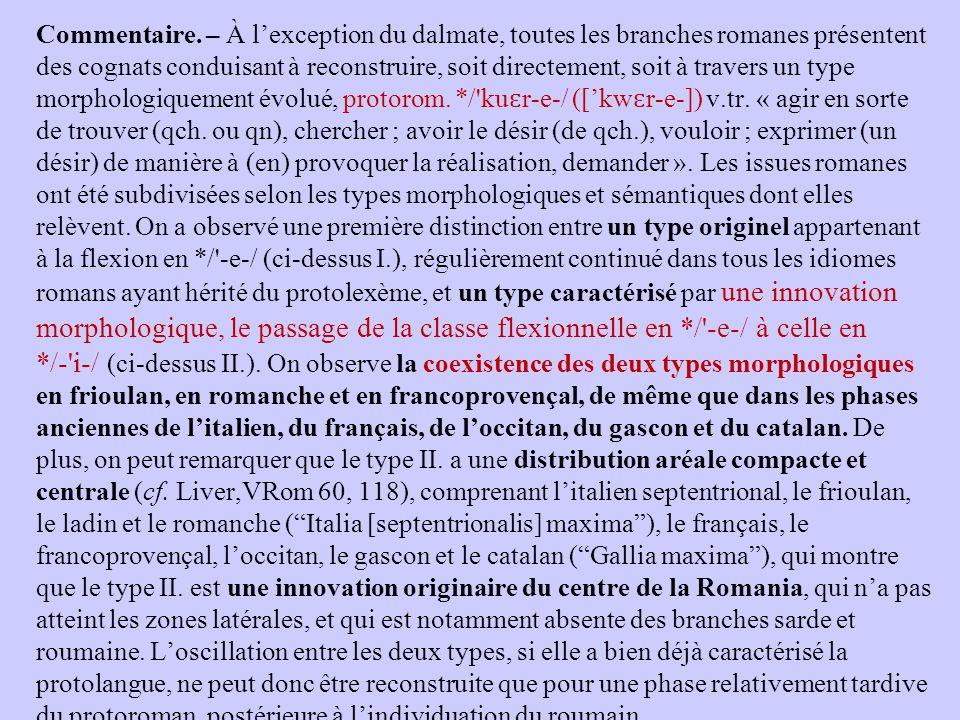 Commentaire. – À l'exception du dalmate, toutes les branches romanes présentent des cognats conduisant à reconstruire, soit directement, soit à traver