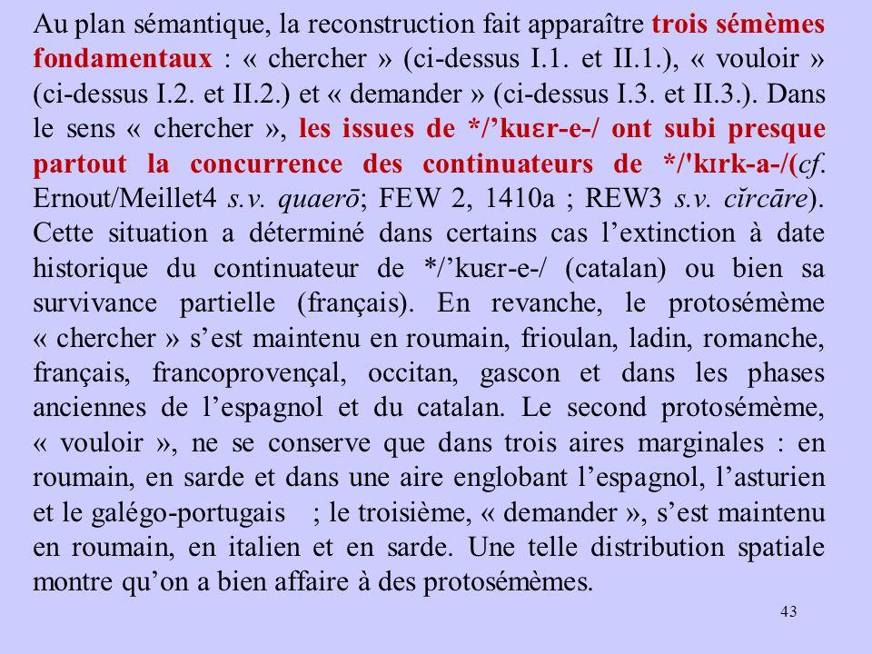 Au plan sémantique, la reconstruction fait apparaître trois sémèmes fondamentaux : « chercher » (ci-dessus I.1.