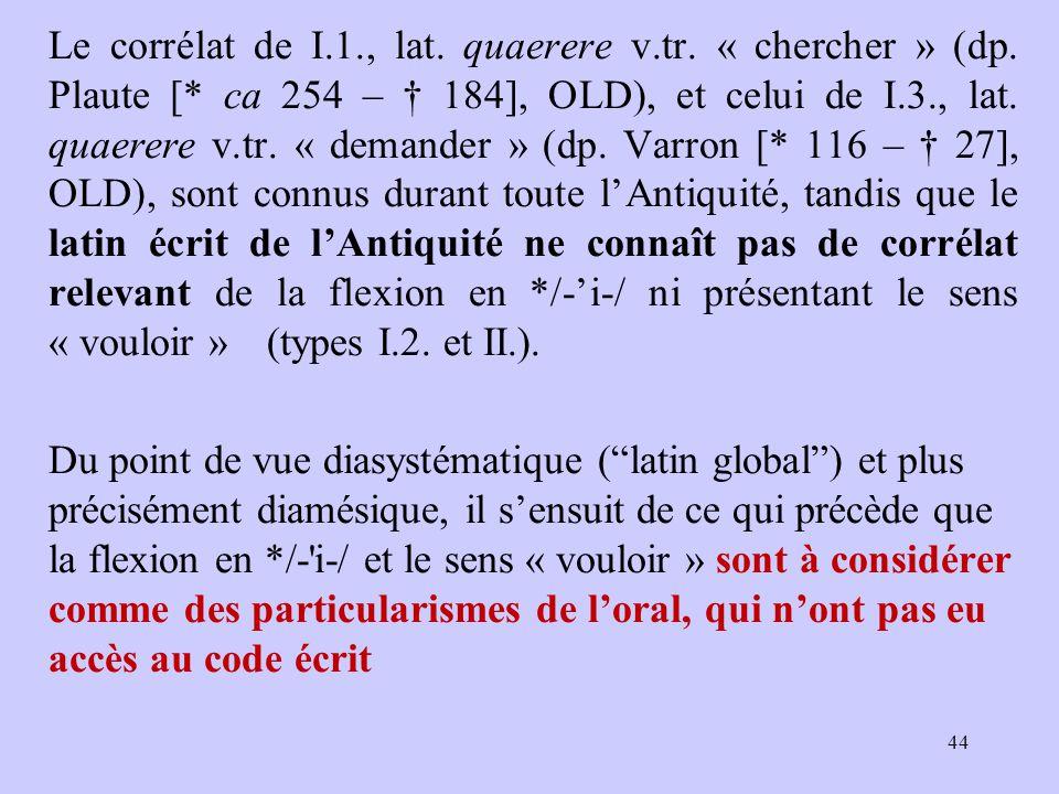 Le corrélat de I.1., lat. quaerere v.tr. « chercher » (dp. Plaute [* ca 254 – † 184], OLD), et celui de I.3., lat. quaerere v.tr. « demander » (dp. Va