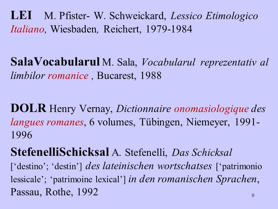 9 LEI M. Pfister- W. Schweickard, Lessico Etimologico Italiano, Wiesbaden, Reichert, 1979-1984 SalaVocabularul M. Sala, Vocabularul reprezentativ al l