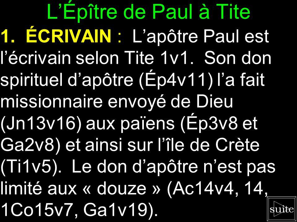 Survol des Livres de la Bible Lettre de Paul à Tite L'ordre de l'église locale