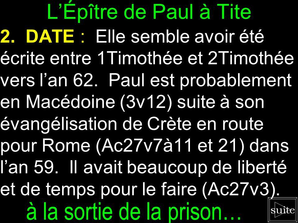 L'Épître de Paul à Tite 1. ÉCRIVAIN : L'apôtre Paul est l'écrivain selon Tite 1v1.