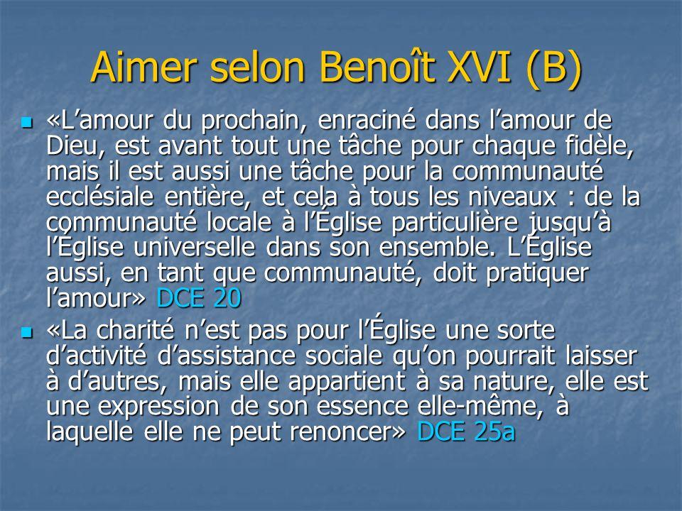 Aimer selon Benoît XVI (B) «L'amour du prochain, enraciné dans l'amour de Dieu, est avant tout une tâche pour chaque fidèle, mais il est aussi une tâc