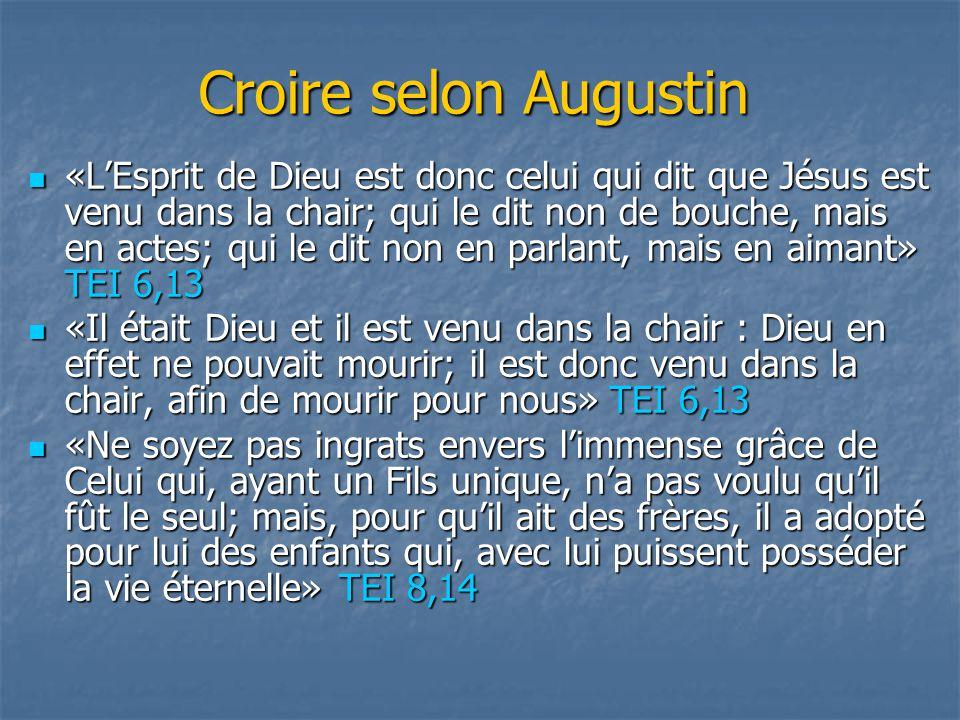 Croire selon Augustin «L'Esprit de Dieu est donc celui qui dit que Jésus est venu dans la chair; qui le dit non de bouche, mais en actes; qui le dit n