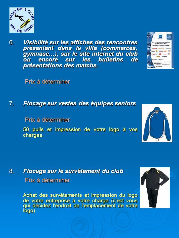 6.Visibilité sur les affiches des rencontres présentent dans la ville (commerces, gymnase…), sur le site internet du club ou encore sur les bulletins