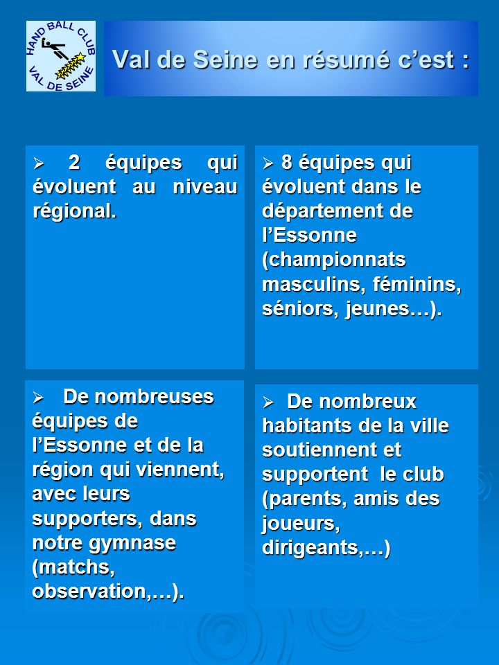  2 équipes qui évoluent au niveau régional.  8 équipes qui évoluent dans le département de l'Essonne (championnats masculins, féminins, séniors, jeu