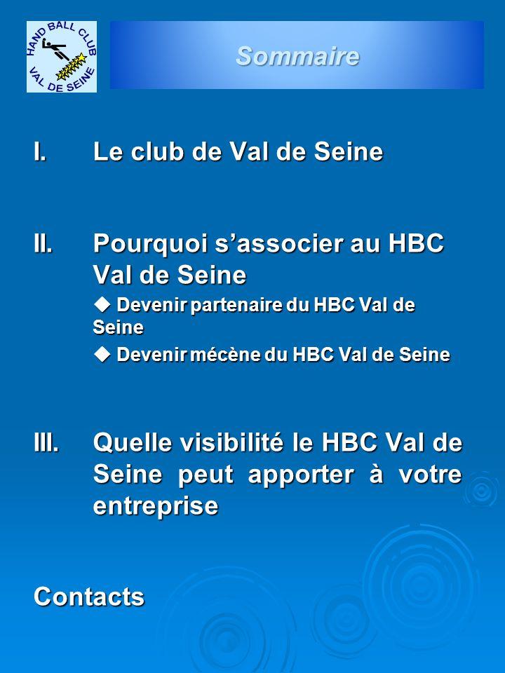 I. Le club de Val de Seine II. Pourquoi s'associer au HBC Val de Seine  Devenir partenaire du HBC Val de Seine  Devenir mécène du HBC Val de Seine I