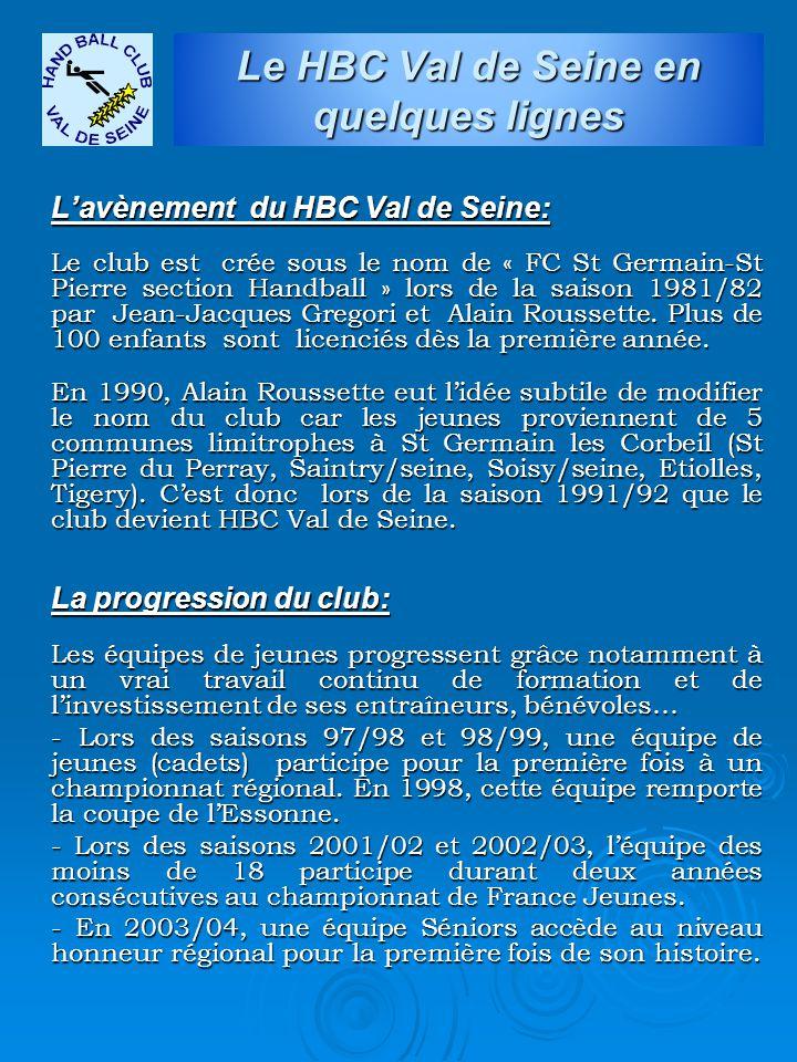 L'avènement du HBC Val de Seine: Le club est crée sous le nom de « FC St Germain-St Pierre section Handball » lors de la saison 1981/82 par Jean-Jacqu