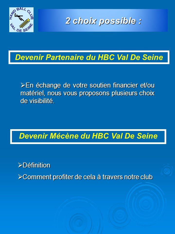 Devenir Partenaire du HBC Val De Seine Devenir Mécène du HBC Val De Seine  En échange de votre soutien financier et/ou matériel, nous vous proposons