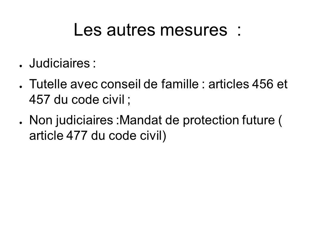 Les autres mesures : ● Judiciaires : ● Tutelle avec conseil de famille : articles 456 et 457 du code civil ; ● Non judiciaires :Mandat de protection future ( article 477 du code civil)