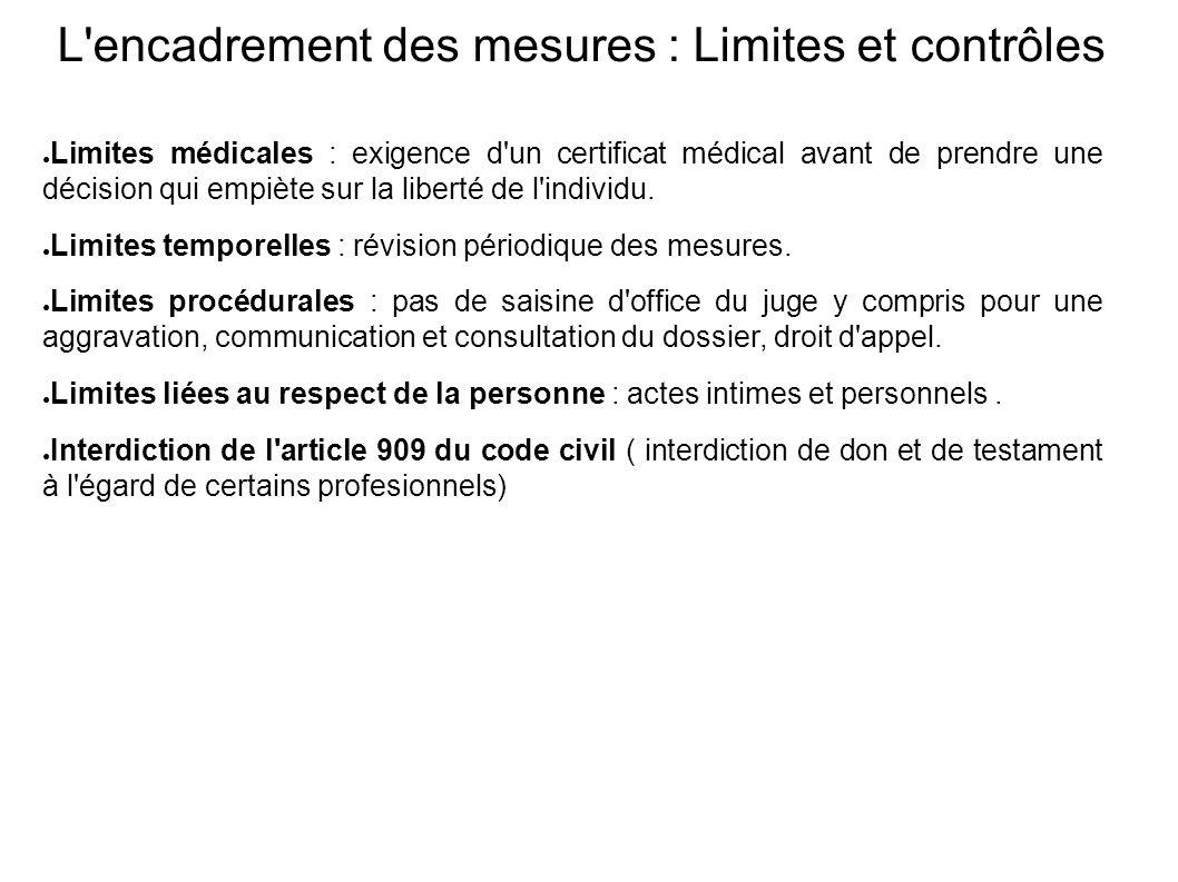 L encadrement des mesures : Limites et contrôles ● Limites médicales : exigence d un certificat médical avant de prendre une décision qui empiète sur la liberté de l individu.