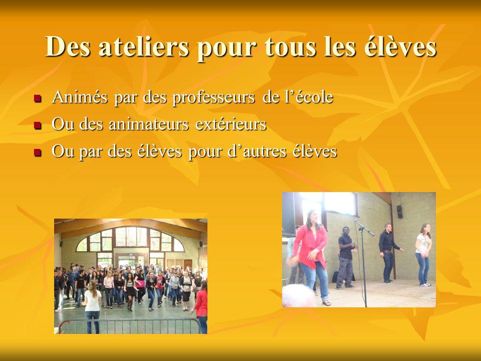 Des ateliers pour tous les élèves Animés par des professeurs de l'école Animés par des professeurs de l'école Ou des animateurs extérieurs Ou des anim