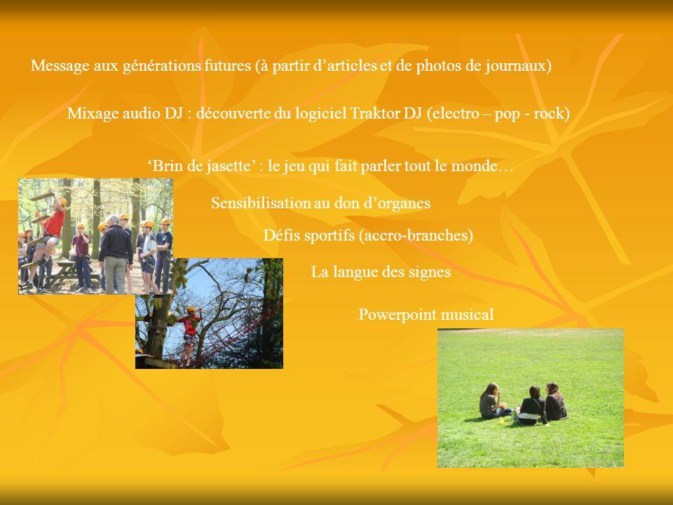 Et encore… Activités Amnesty International Jeu de piste préparé par l'option tourisme Danses folk et expression théâtrale Jeux de coopération Jeux mathématiques Jeux de société Pictionary