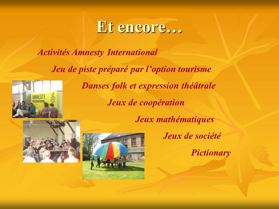 Et encore… Activités Amnesty International Jeu de piste préparé par l'option tourisme Danses folk et expression théâtrale Jeux de coopération Jeux mat