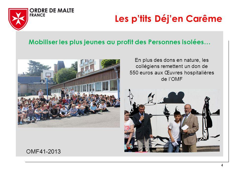 Mobiliser les plus jeunes au profit des Personnes isolées… 4 OMF41-2013 En plus des dons en nature, les collégiens remettent un don de 550 euros aux Œuvres hospitalières de l'OMF Les p'tits Déj'en Carême