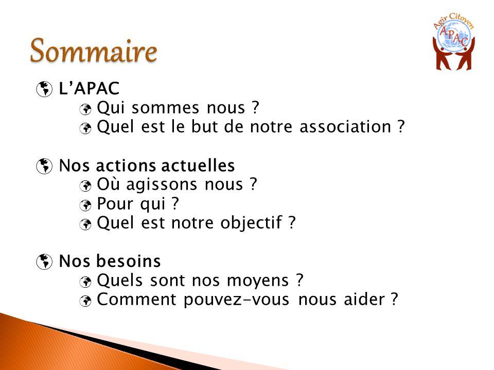  L'APAC Qui sommes nous ? Quel est le but de notre association ?  Nos actions actuelles Où agissons nous ? Pour qui ? Quel est notre objectif ?  No