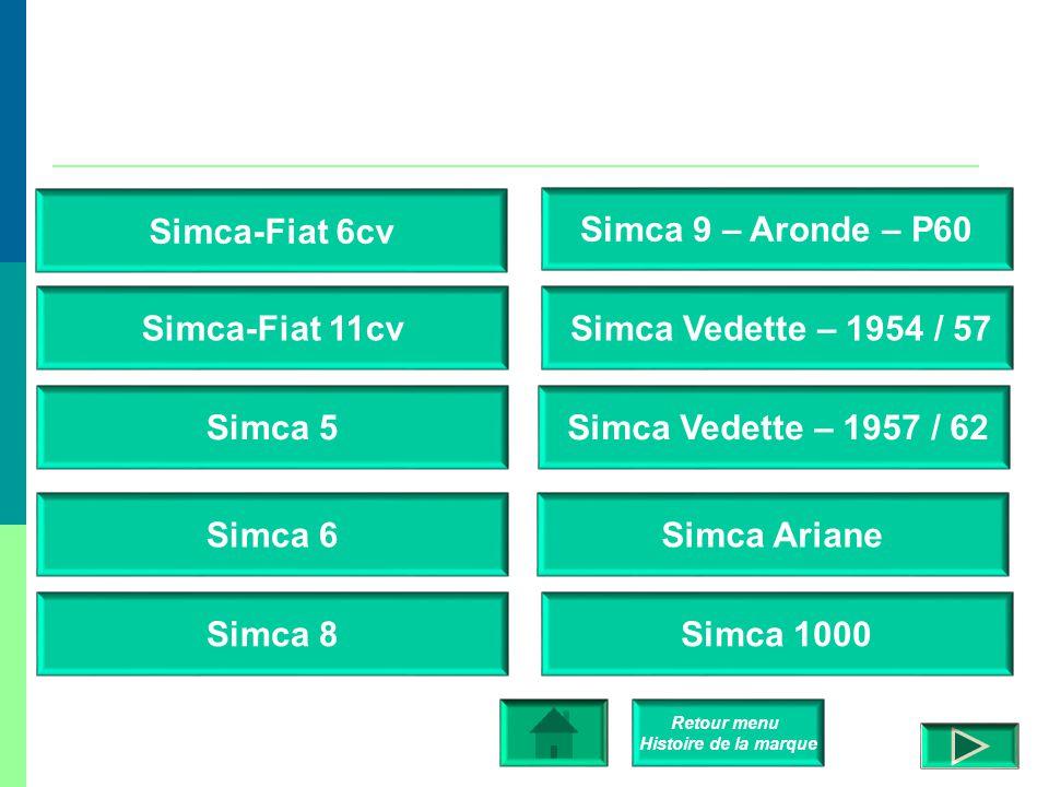  Simca-Fiat 6 CV (1935), version française de la Fiat 508 Balilla.  Simca-Fiat 11 CV (1935), version française de la Fiat 518 Ardita.  Simca Cinq (
