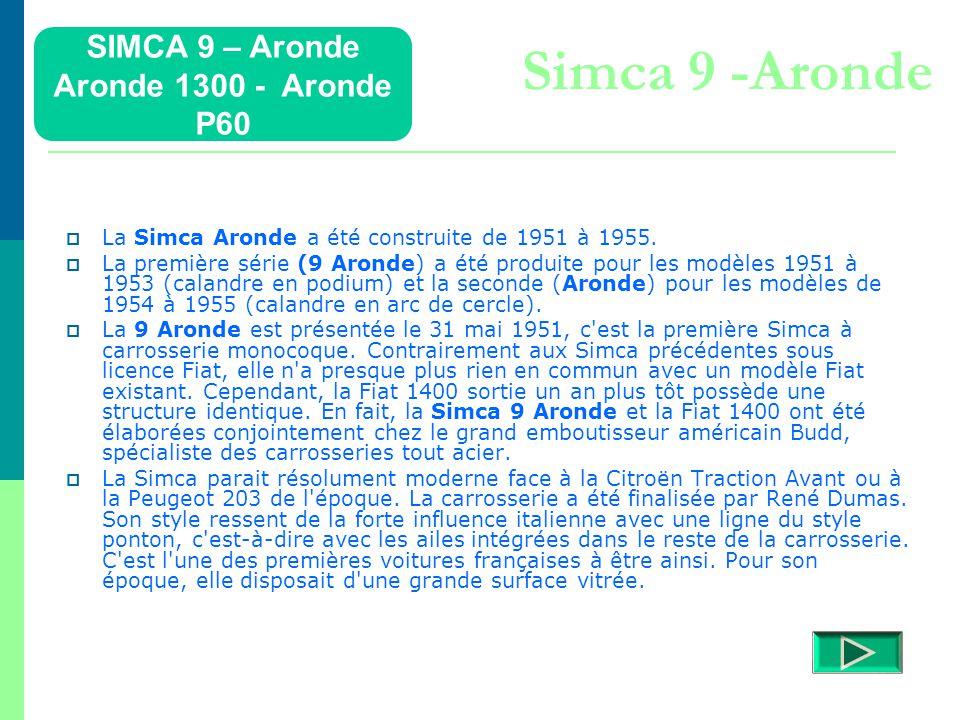 SIMCA 9 – Aronde Aronde 1300 - Aronde P60 Détails  Retour menu Modèles