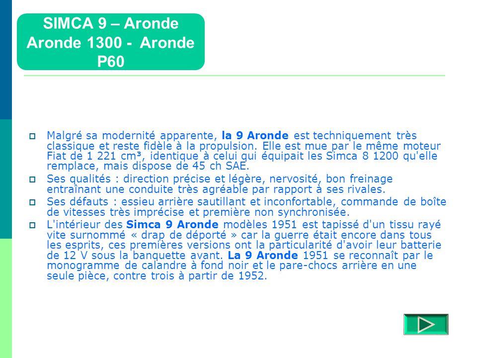 Simca 9 -Aronde  La Simca Aronde a été construite de 1951 à 1955.  La première série (9 Aronde) a été produite pour les modèles 1951 à 1953 (calandr