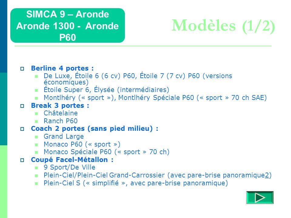 Aronde P 60  La Simca Aronde P 60, P pour personnalisation (certains dises aussi, pour Pigozzi) et 60 pour la décennie à venir (sous entendu