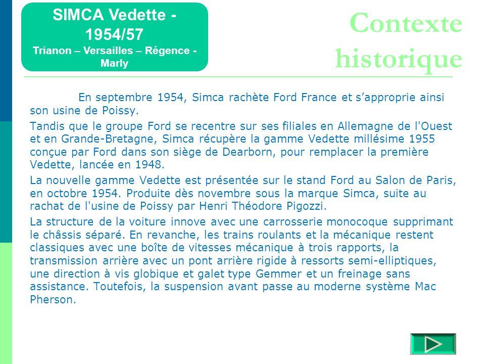 SIMCA Vedette - 1954/57 Trianon – Versailles – Régence - Marly Détails  Retour menu Modèles