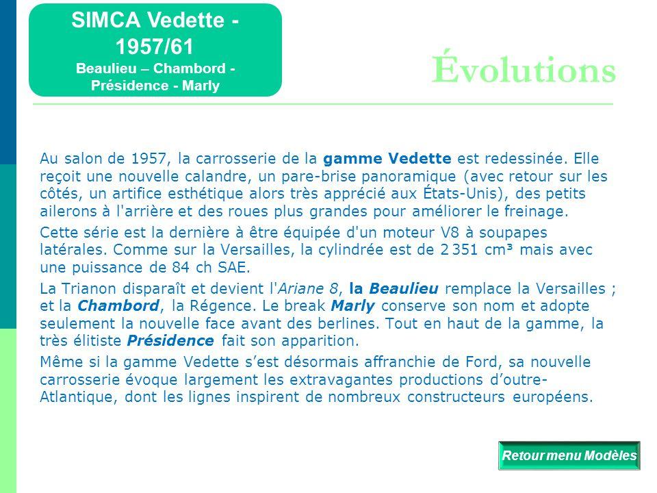 SIMCA Vedette - 1957/61 Beaulieu – Chambord - Présidence - Marly Détails  Retour menu Modèles