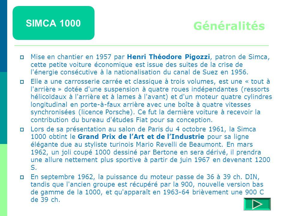 SIMCA 1000 Détails  Retour menu Modèles