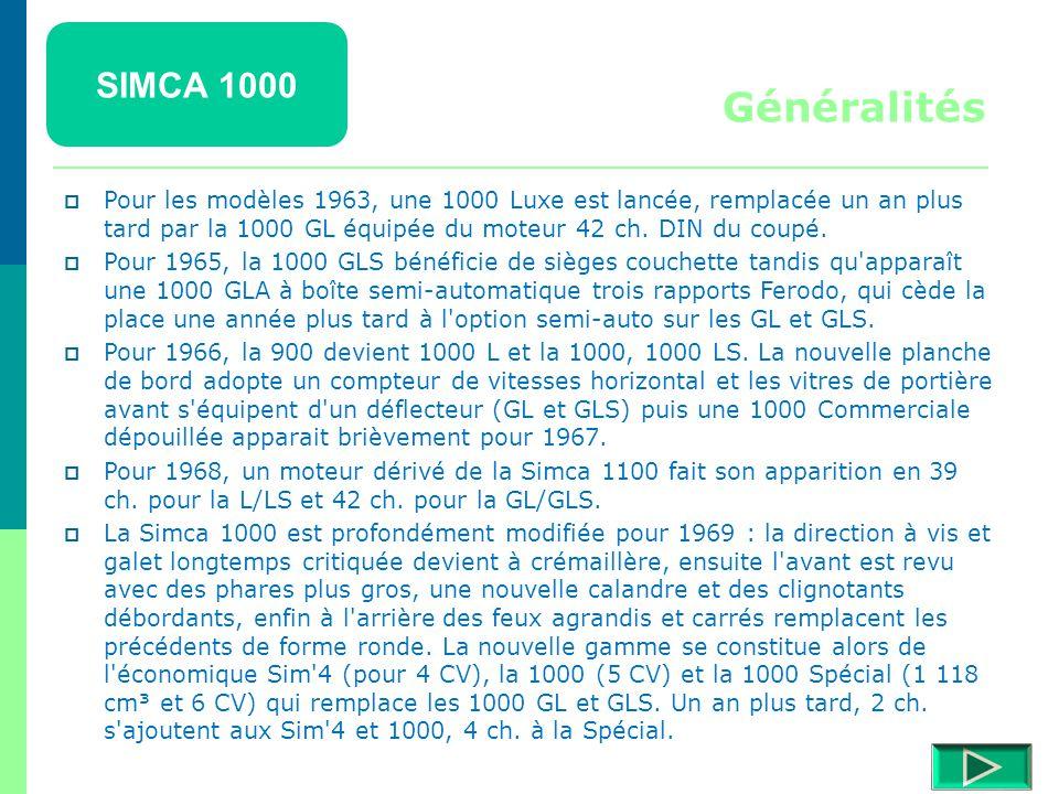 SIMCA 1000  Mise en chantier en 1957 par Henri Théodore Pigozzi, patron de Simca, cette petite voiture économique est issue des suites de la crise de