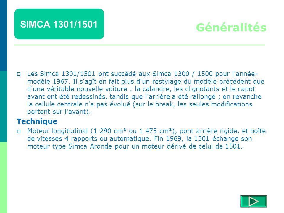 SIMCA 1301/1501 Détails  Retour menu Modèles