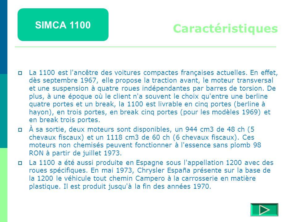 SIMCA 1100 Détails  Retour menu Modèles