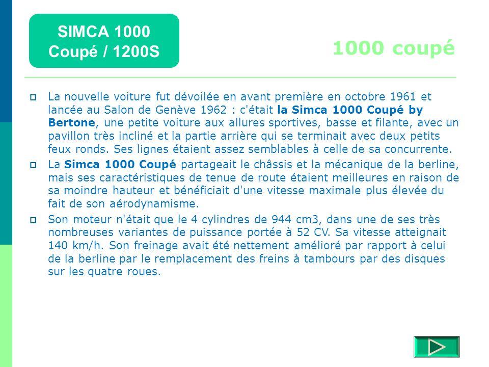 SIMCA 1000 Coupé / 1200S Détails  Retour menu Modèles