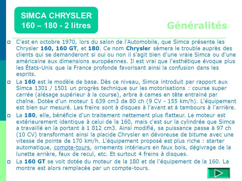 SIMCA CHRYSLER 160 – 180 - 2 litres Détails  Retour menu Modèles