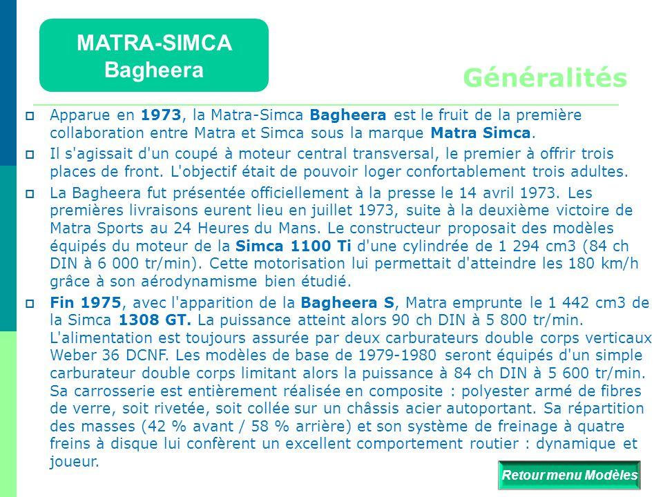 MATRA-SIMCA Bagheera Détails  Retour menu Modèles