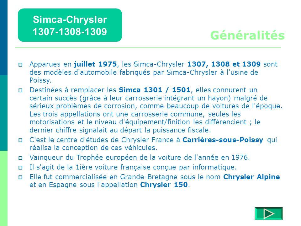 Simca-Chrysler 1307-1308-1309 Détails  Retour menu Modèles