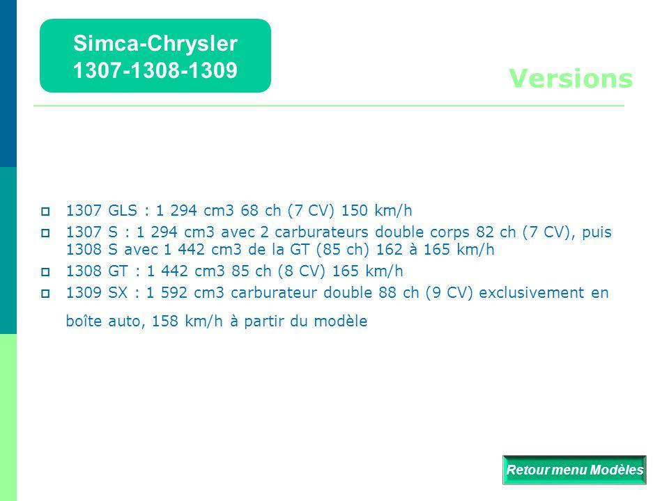  Apparues en juillet 1975, les Simca-Chrysler 1307, 1308 et 1309 sont des modèles d'automobile fabriqués par Simca-Chrysler à l'usine de Poissy.  De