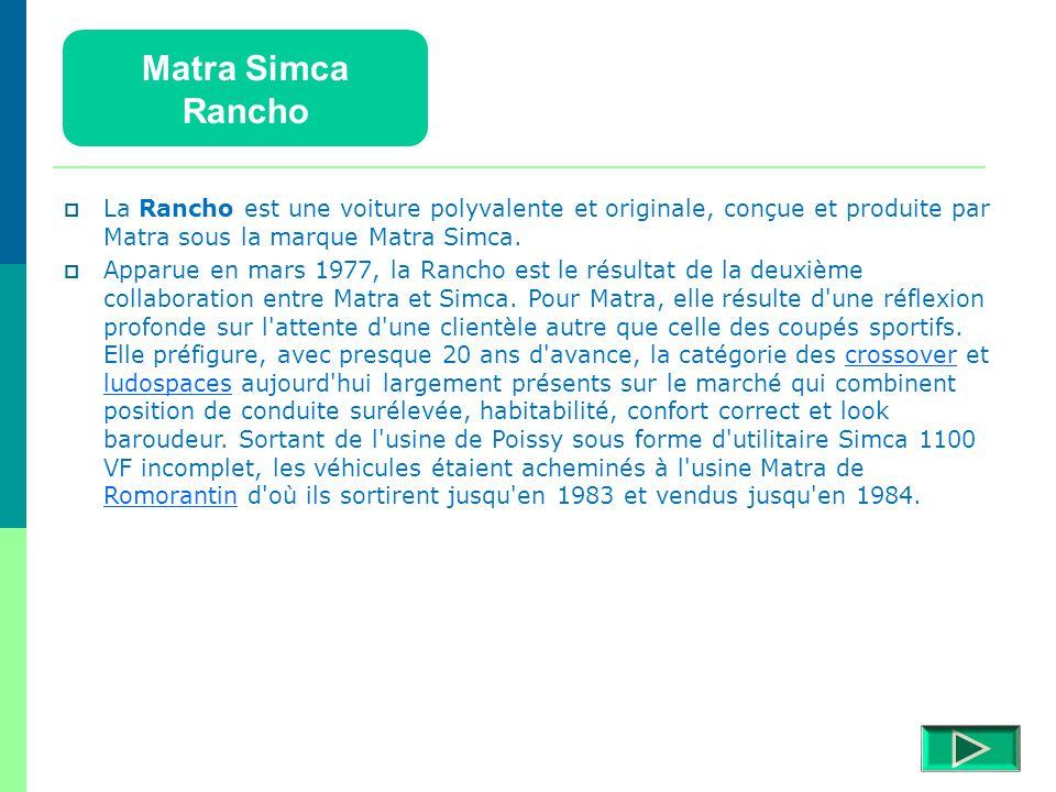 Matra Simca Rancho Détails  Retour menu Modèles