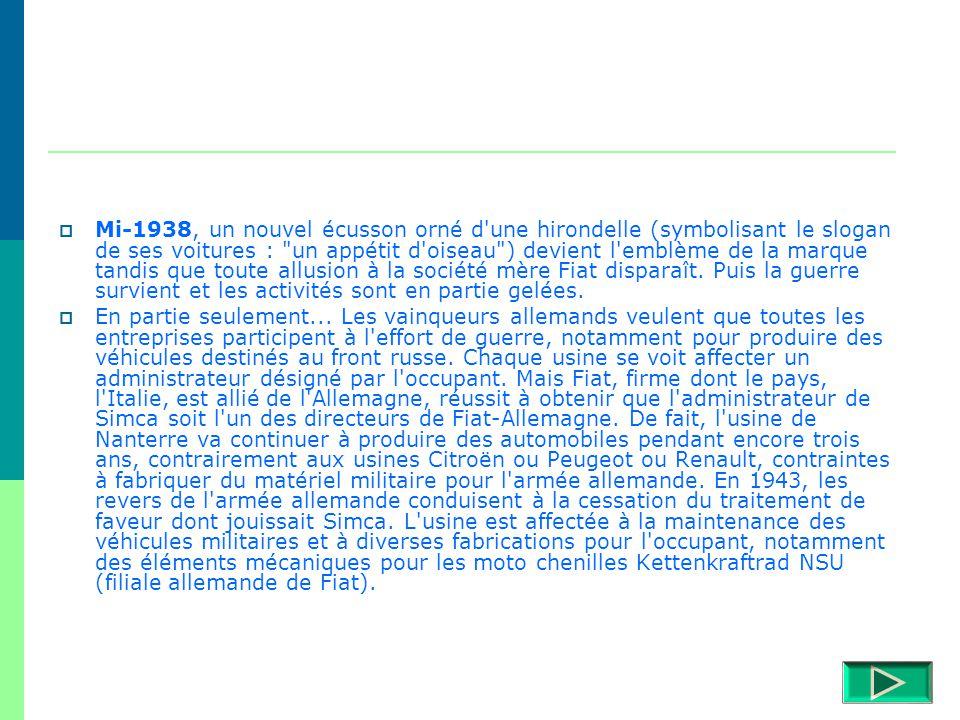 Le 2 novembre 1934, la Société Industrielle de Mécanique et Carrosserie Automobile (SIMCA) - une entreprise au capital de huit millions de francs, 100