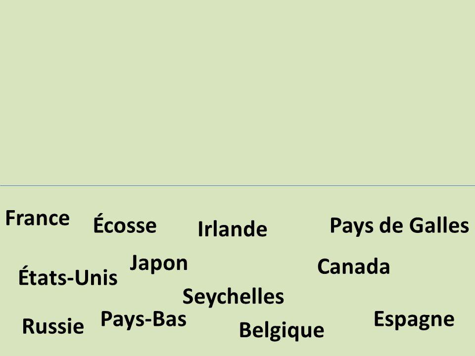 Pays-Bas Japon Seychelles Canada Irlande Écosse Espagne Belgique États-Unis Russie France Pays de Galles