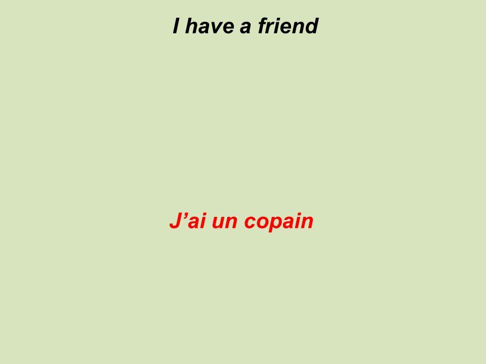 I have a friend J'ai un copain