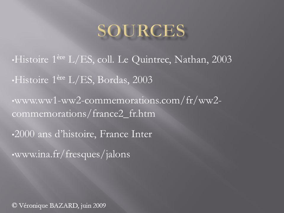 Histoire 1 ère L/ES, coll. Le Quintrec, Nathan, 2003 Histoire 1 ère L/ES, Bordas, 2003 www.ww1-ww2-commemorations.com/fr/ww2- commemorations/france2_f