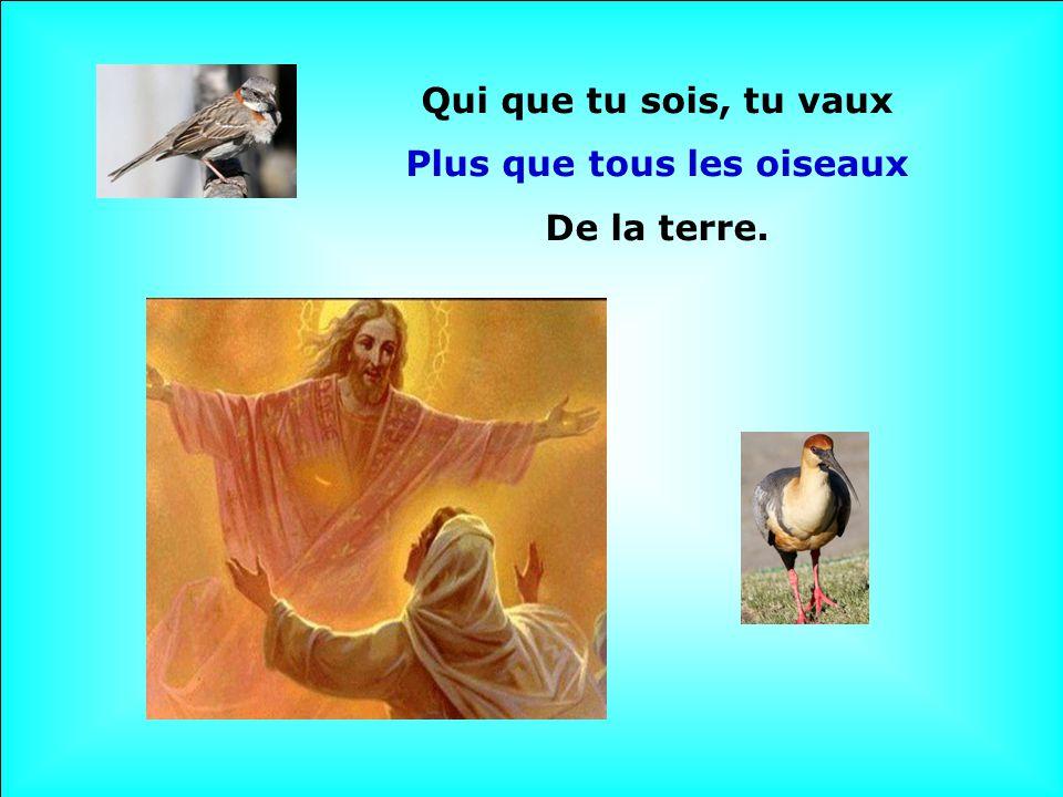 Qui que tu sois, tu vaux Plus que tous les oiseaux De la terre.