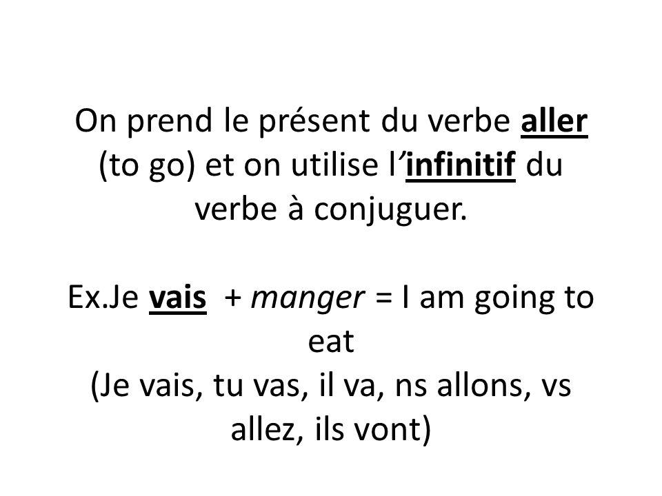 On prend le présent du verbe aller (to go) et on utilise l'infinitif du verbe à conjuguer. Ex.Je vais + manger = I am going to eat (Je vais, tu vas, i