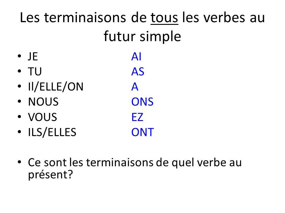 Les terminaisons de tous les verbes au futur simple JEAI TUAS Il/ELLE/ONA NOUSONS VOUSEZ ILS/ELLESONT Ce sont les terminaisons de quel verbe au présen