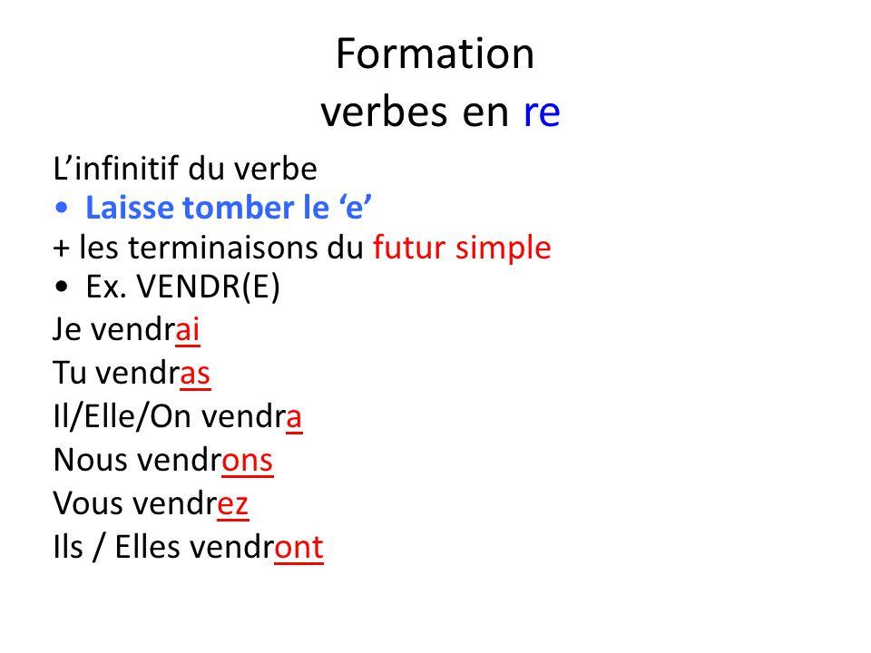 Formation verbes en re L'infinitif du verbe Laisse tomber le 'e' + les terminaisons du futur simple Ex. VENDR(E) Je vendrai Tu vendras Il/Elle/On vend
