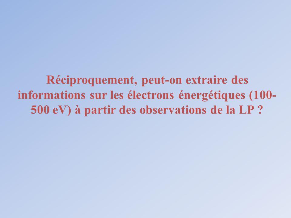 Réciproquement, peut-on extraire des informations sur les électrons énergétiques (100- 500 eV) à partir des observations de la LP ?