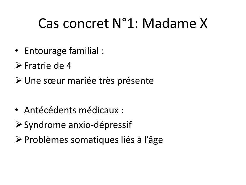 Cas concret N°1: Madame X Entourage familial :  Fratrie de 4  Une sœur mariée très présente Antécédents médicaux :  Syndrome anxio-dépressif  Prob